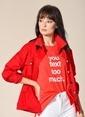 Agenda Baskılı Oversize Tişört Kırmızı